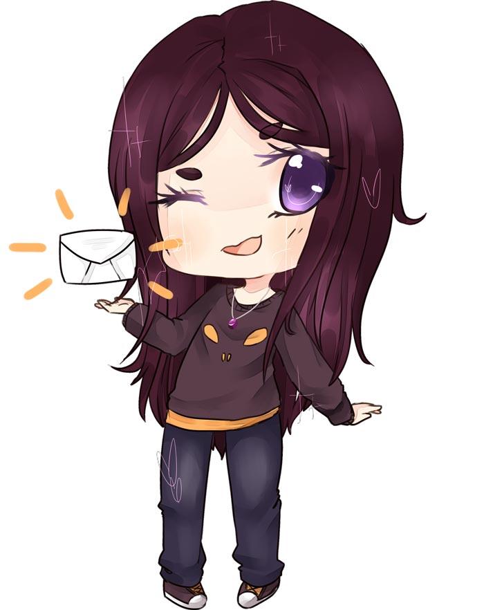 Cassandra holding a letter