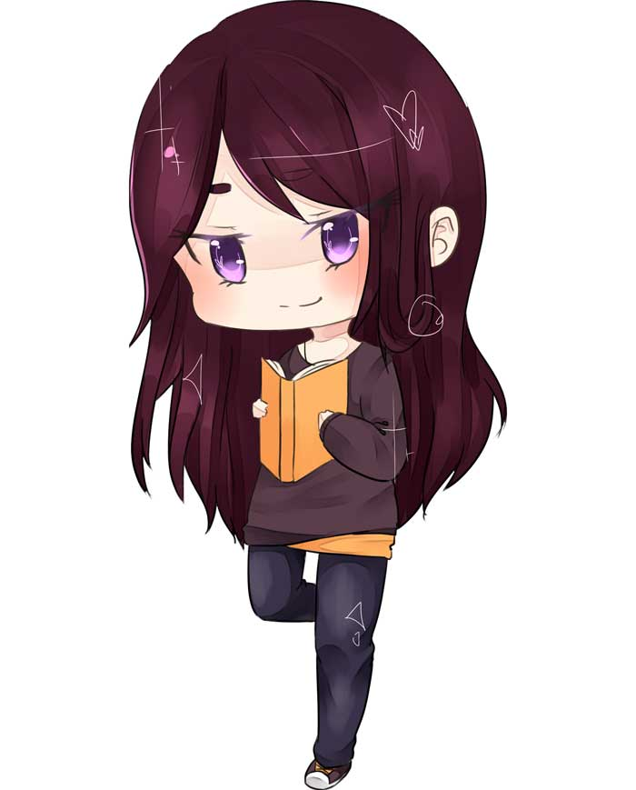 Chibi Cassandra reading a book