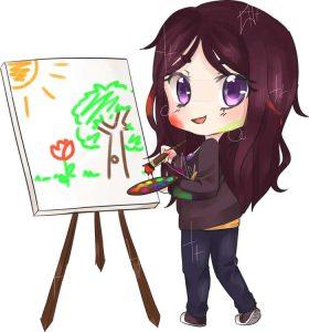 Chibi de Cassandra en train de peindre